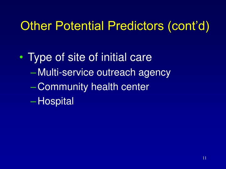 Type of site of initial care
