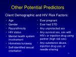 other potential predictors