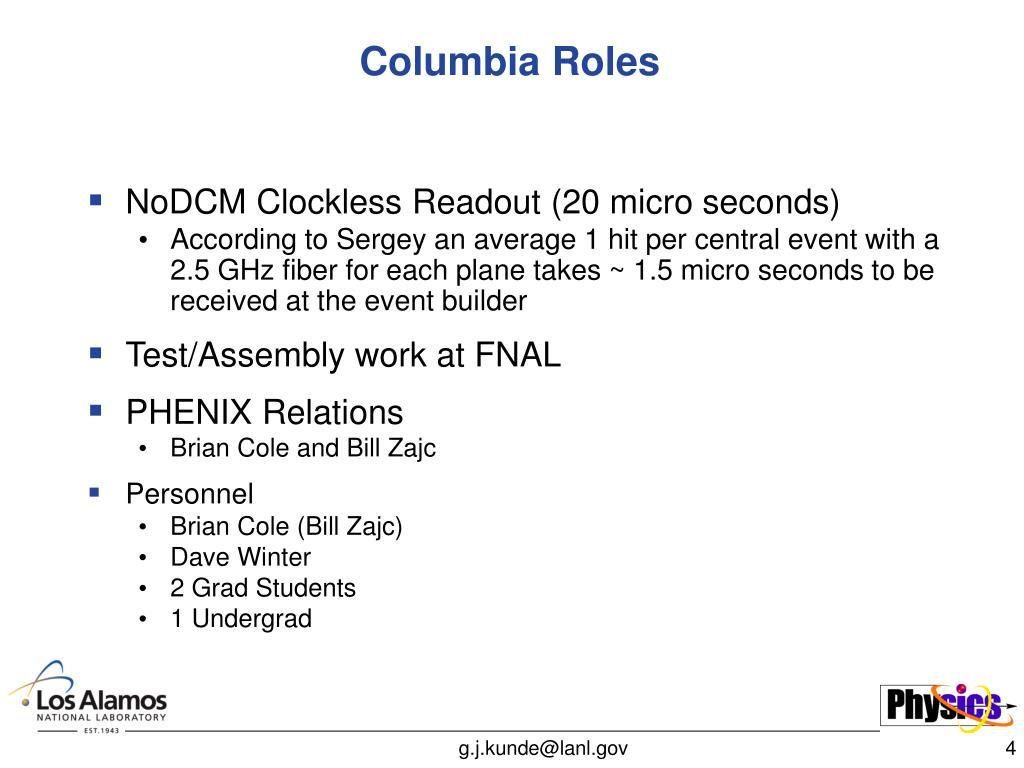 Columbia Roles