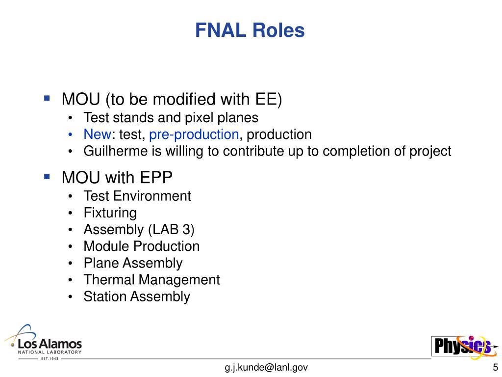 FNAL Roles