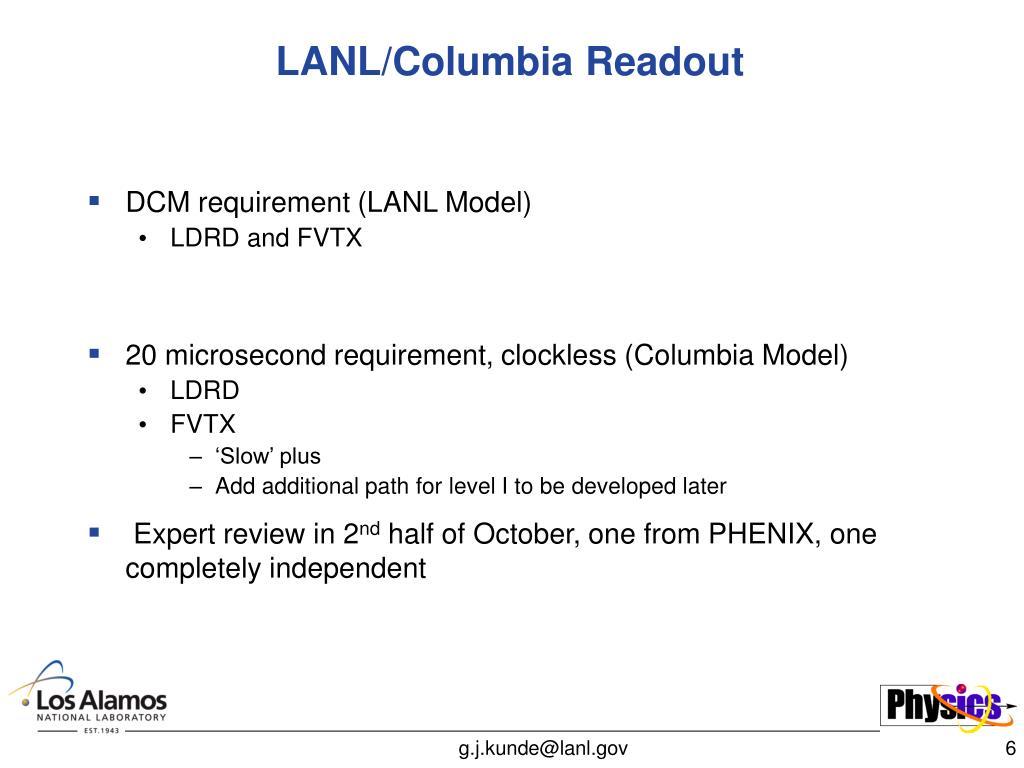 LANL/Columbia Readout