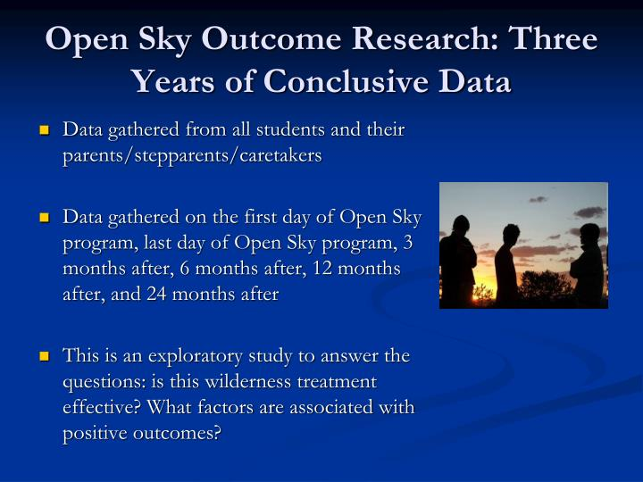 Open Sky Outcome Research: Three Years of Conclusive Data