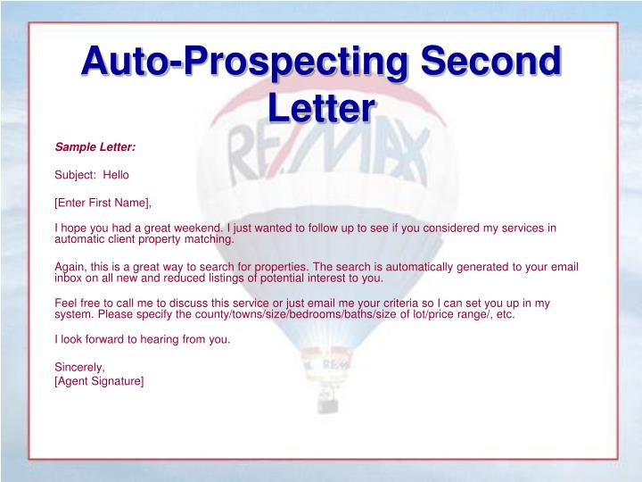 Auto-Prospecting Second Letter