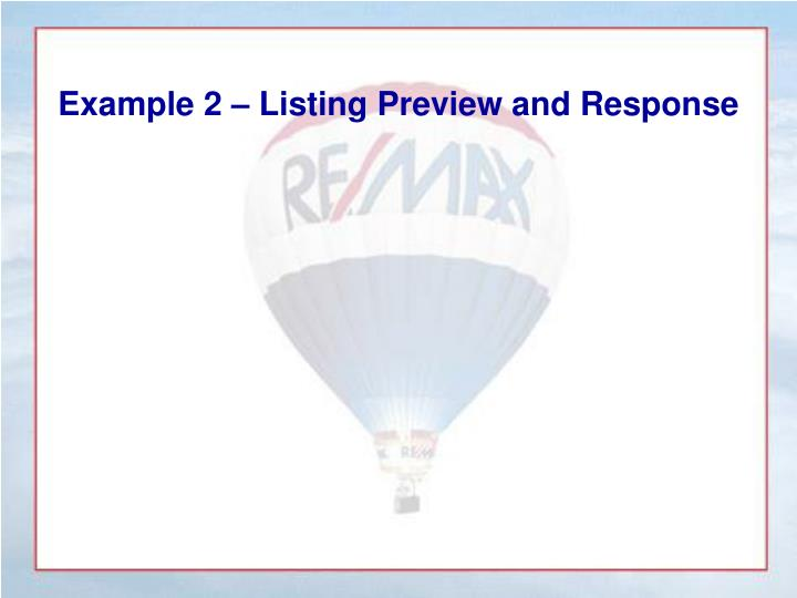 Example 2 – Listing Preview and Response