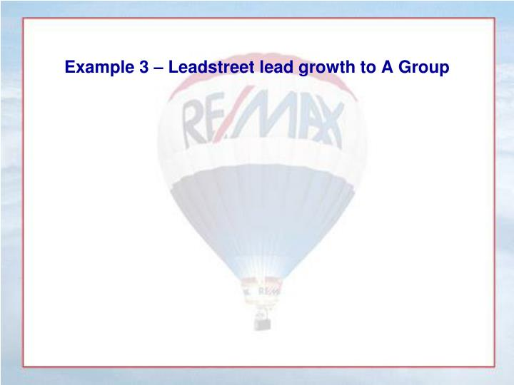 Example 3 – Leadstreet lead growth to A Group