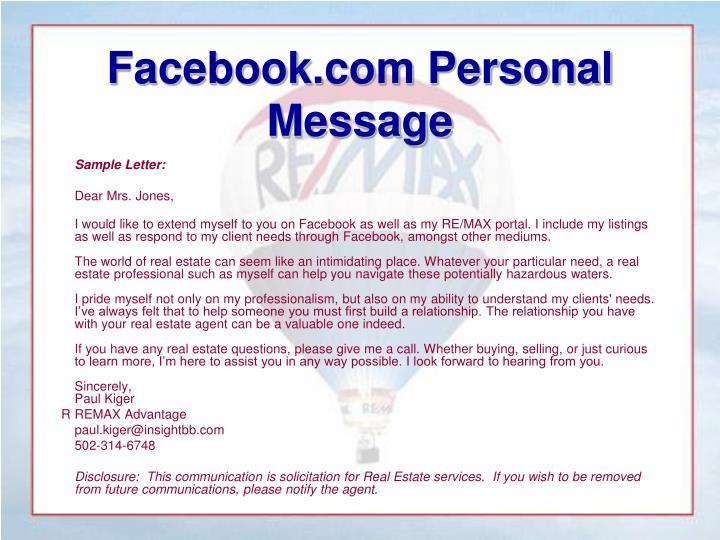 Facebook.com Personal Message