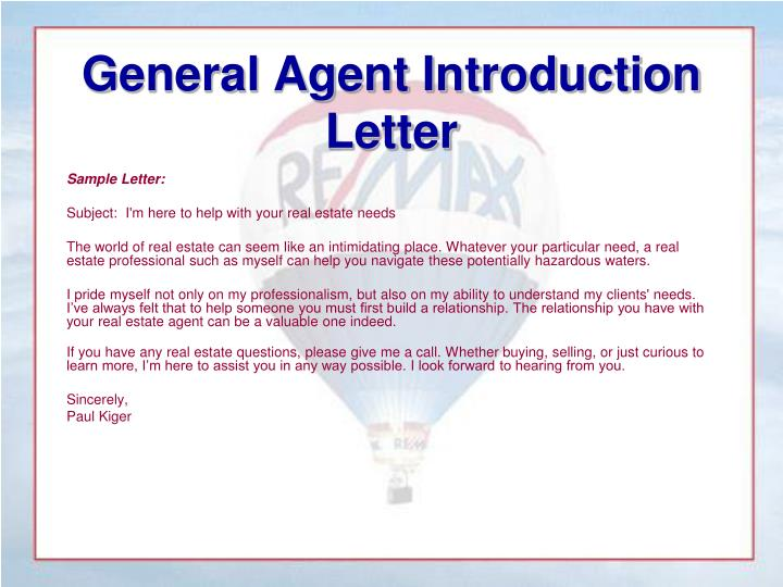 General Agent Introduction Letter