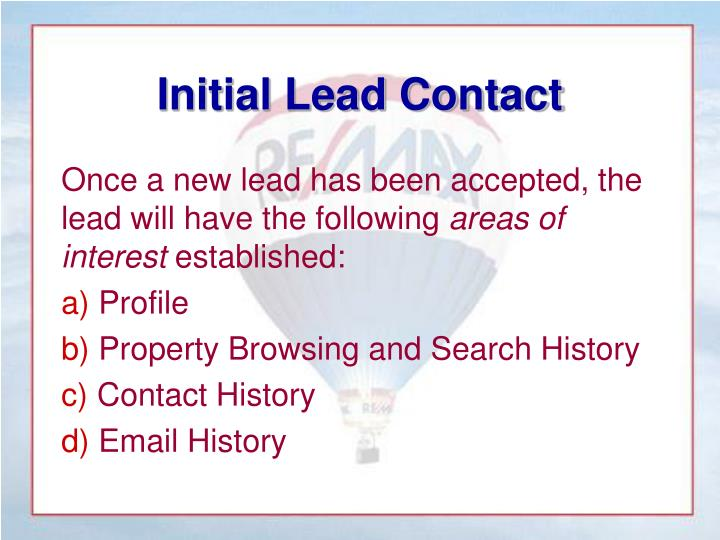 Initial Lead Contact