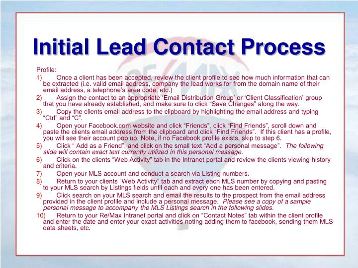 Initial Lead Contact Process