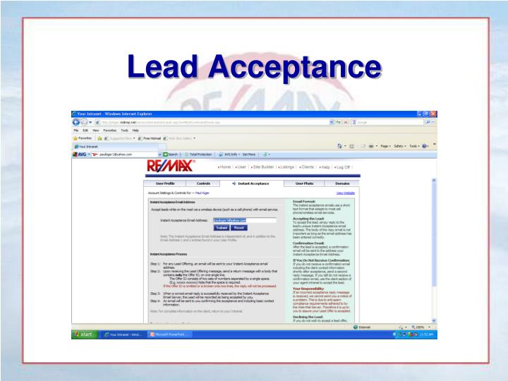 Lead Acceptance