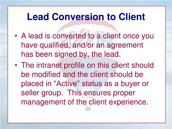 Lead Conversion to Client