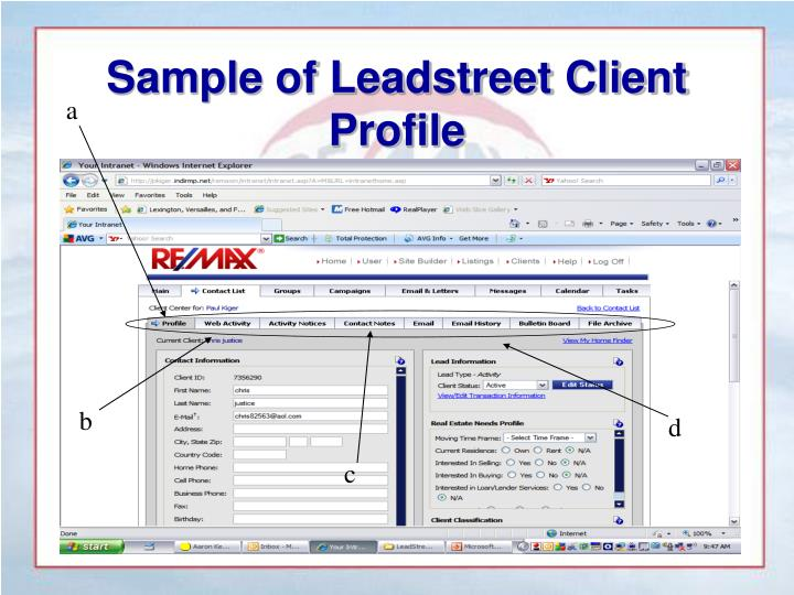 Sample of Leadstreet Client Profile