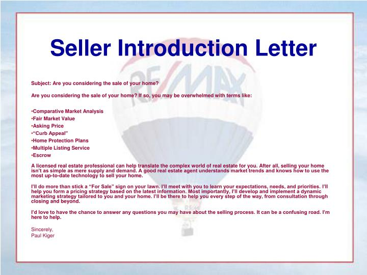 Seller Introduction Letter
