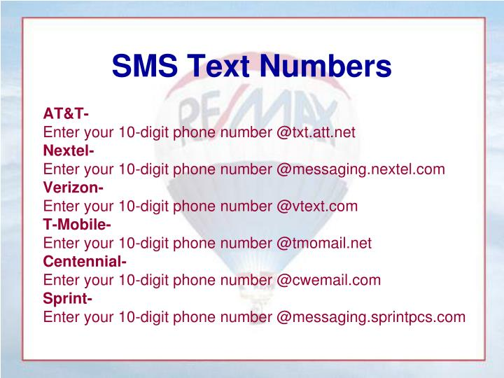 SMS Text Numbers