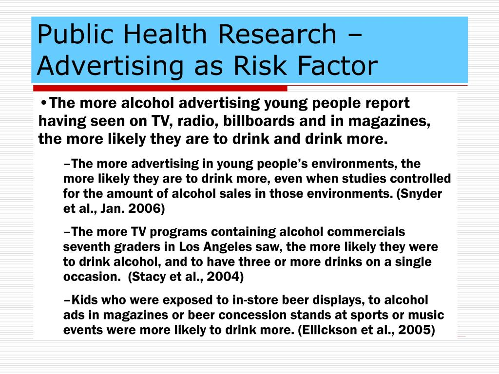 Public Health Research – Advertising as Risk Factor