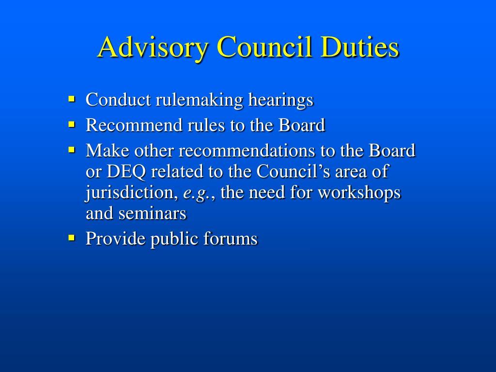 Advisory Council Duties