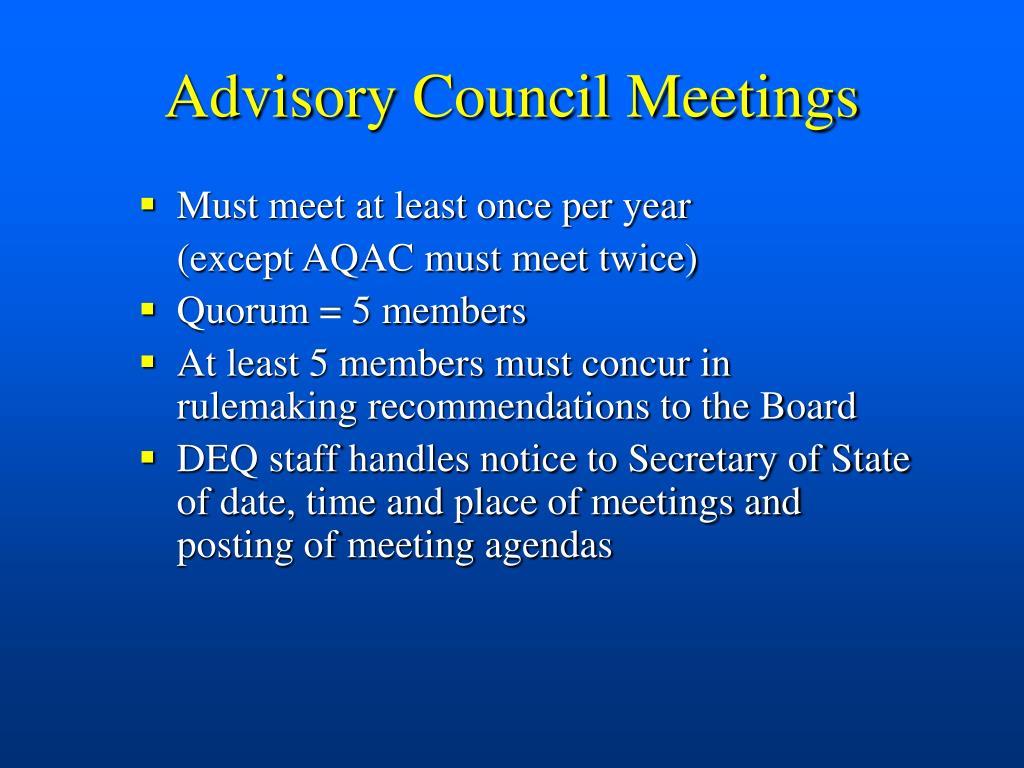 Advisory Council Meetings