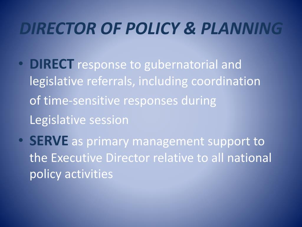 DIRECTOR OF POLICY & PLANNING