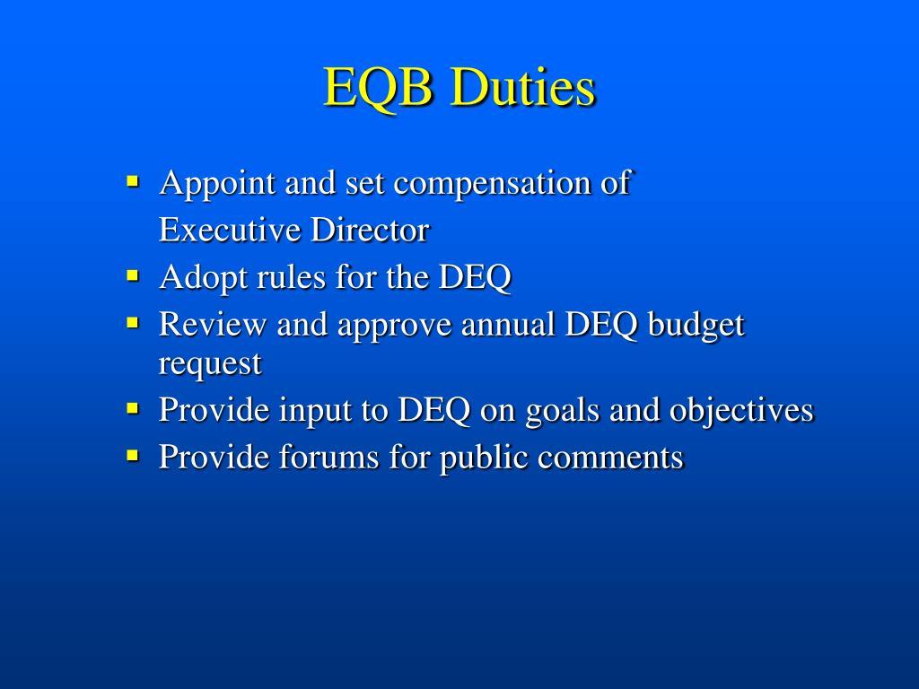 EQB Duties