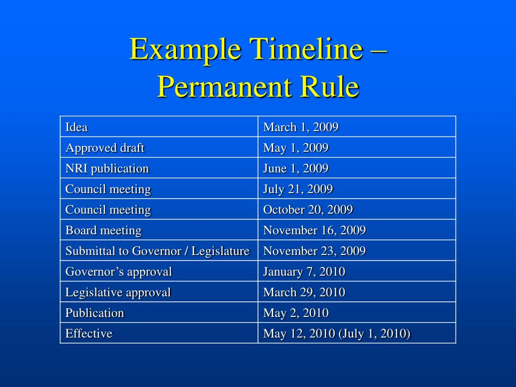 Example Timeline –