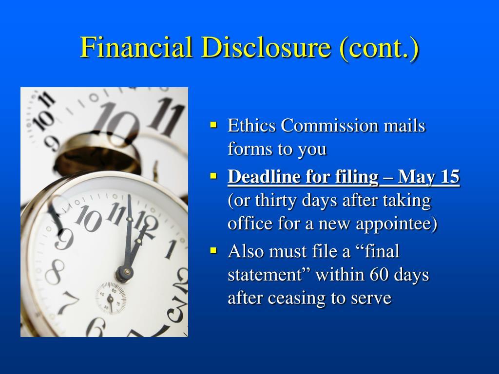 Financial Disclosure (cont.)