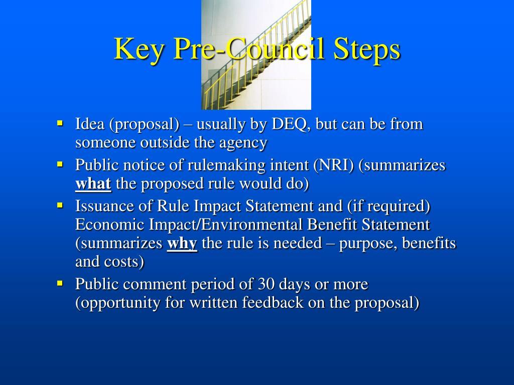 Key Pre-Council Steps