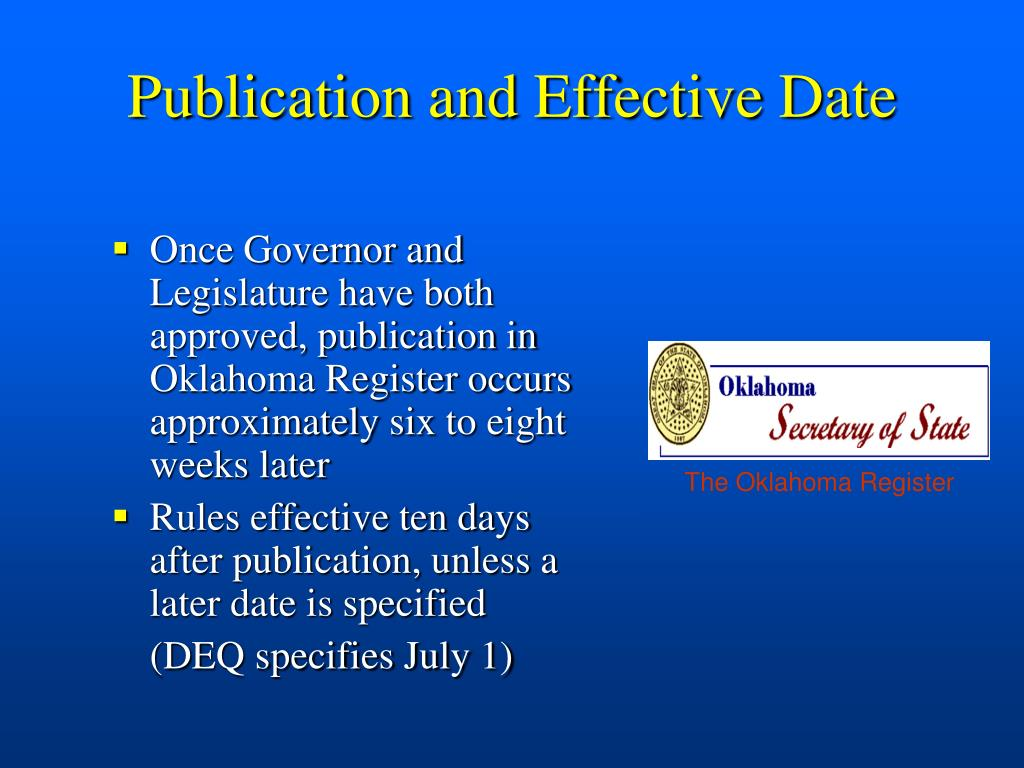 Publication and Effective Date