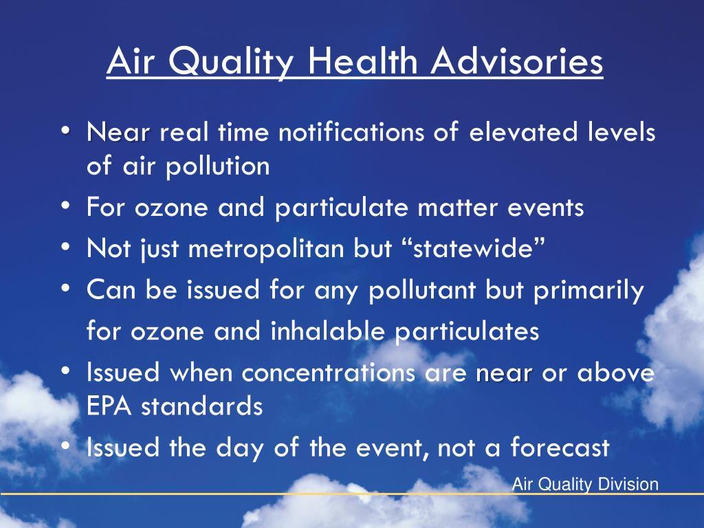 Air Quality Health Advisories