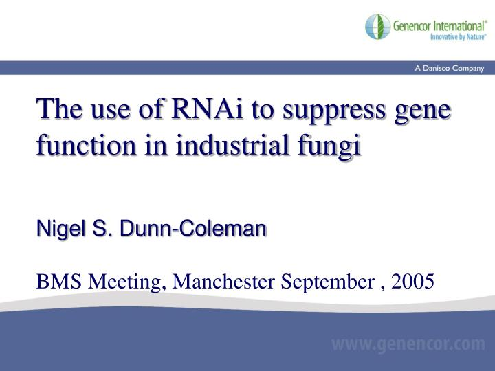 The use of RNAi to suppress gene function in industrial fungi