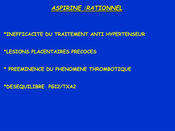 ASPIRINE :RATIONNEL