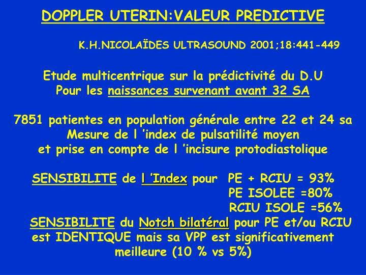 DOPPLER UTERIN:VALEUR PREDICTIVE