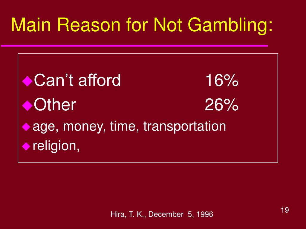 Main Reason for Not Gambling: