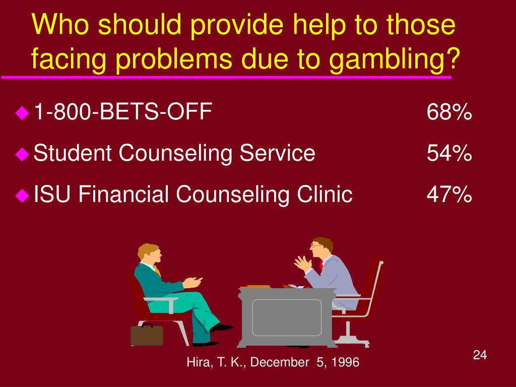 Who should provide help to those facing problems due to gambling?