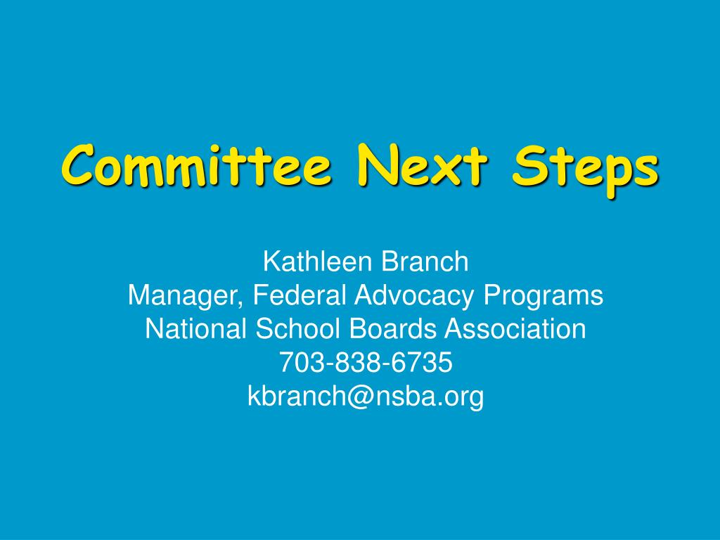 Committee Next Steps