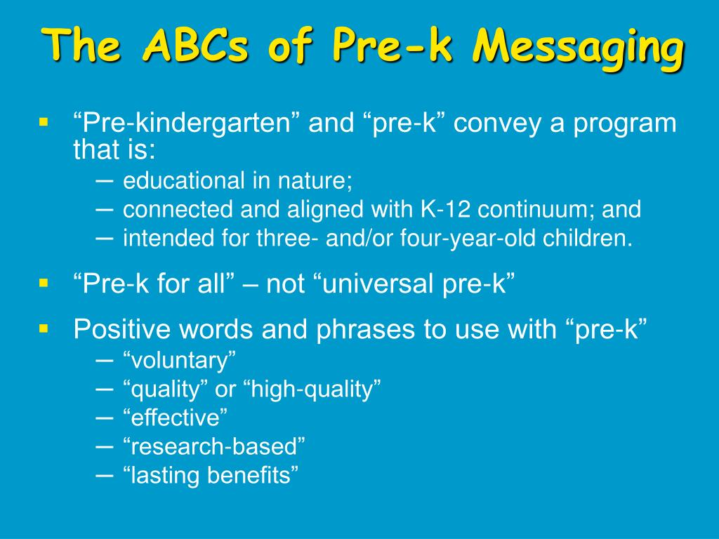 The ABCs of Pre-k Messaging
