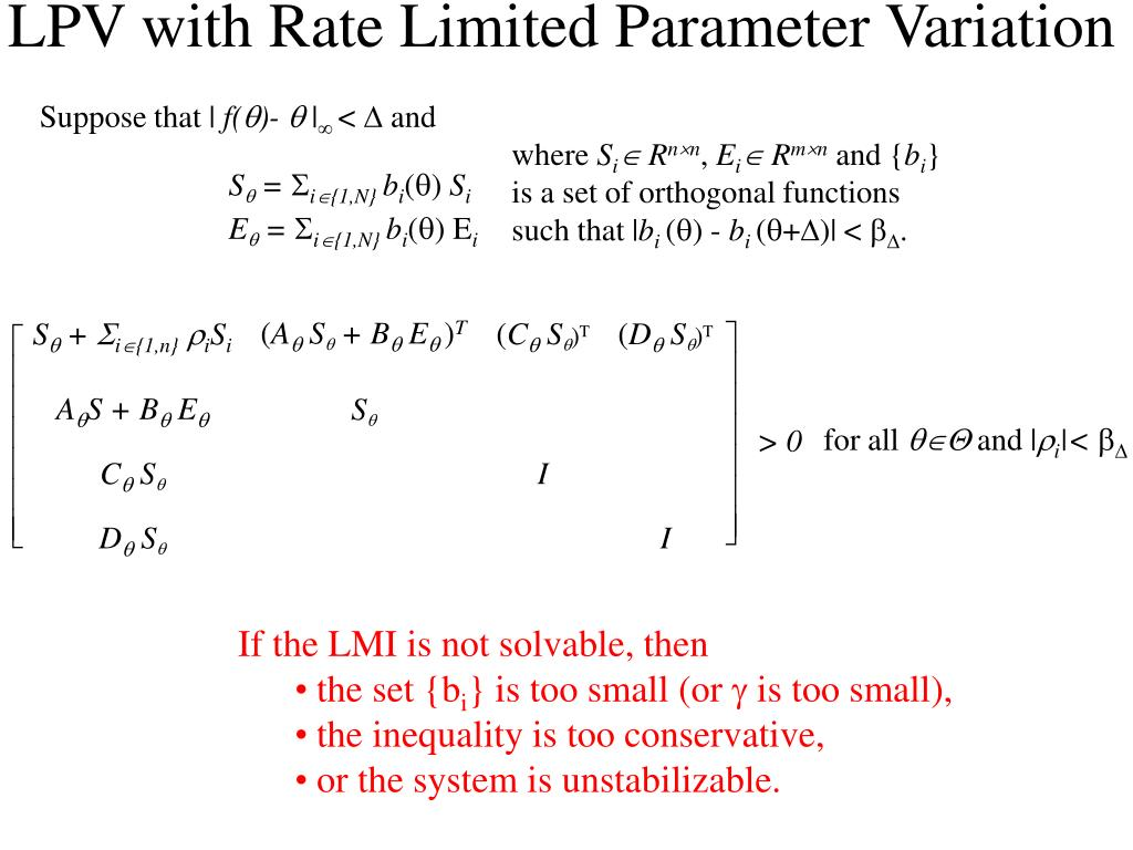 LPV with Rate Limited Parameter Variation