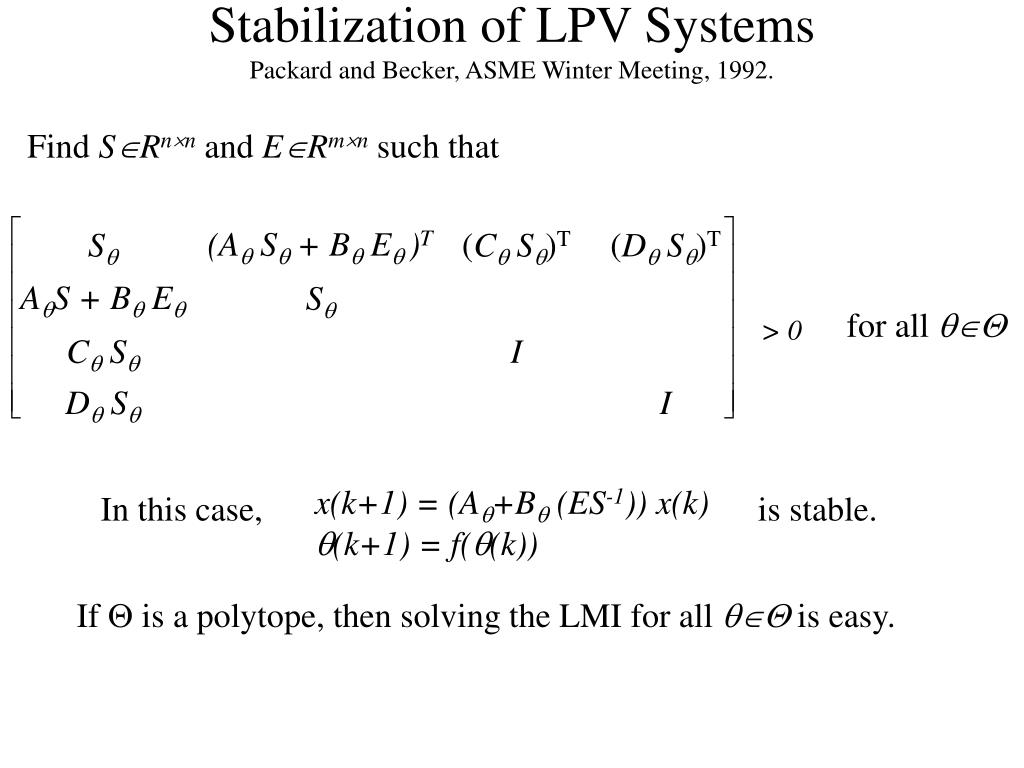 Stabilization of LPV Systems