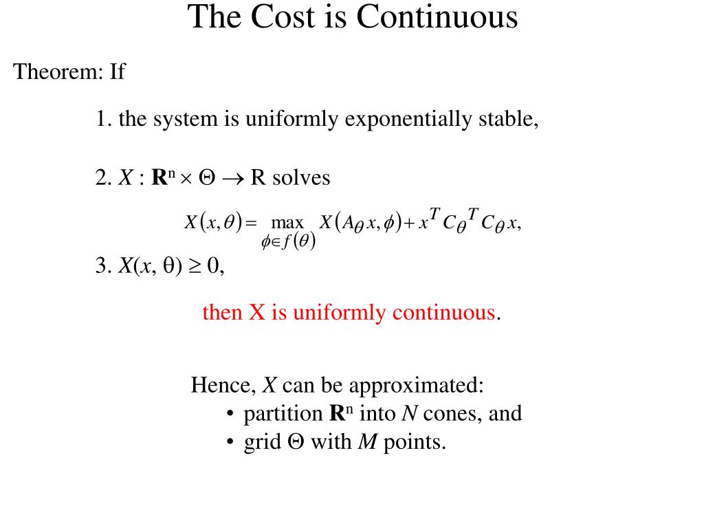 The Cost is Continuous