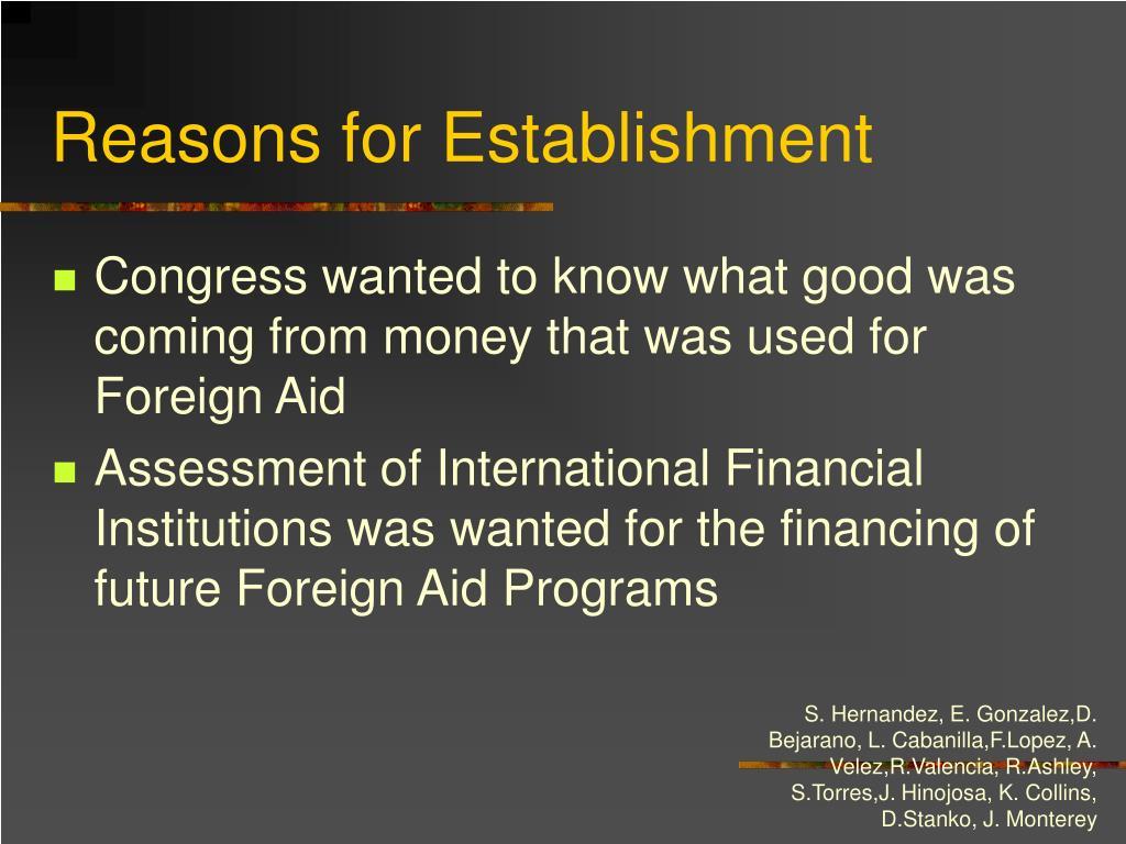 Reasons for Establishment