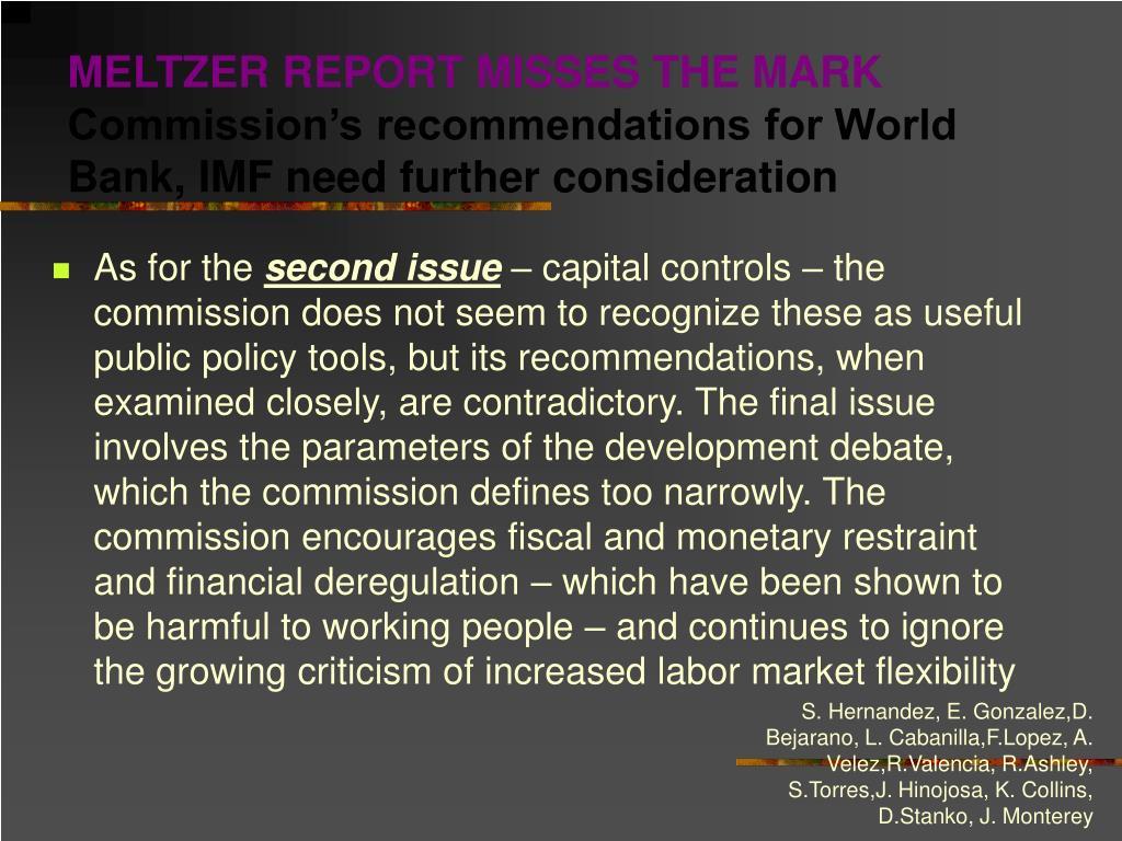 MELTZER REPORT MISSES THE MARK