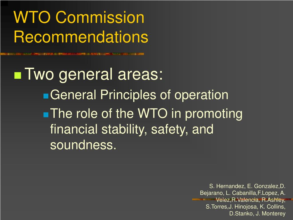 WTO Commission Recommendations