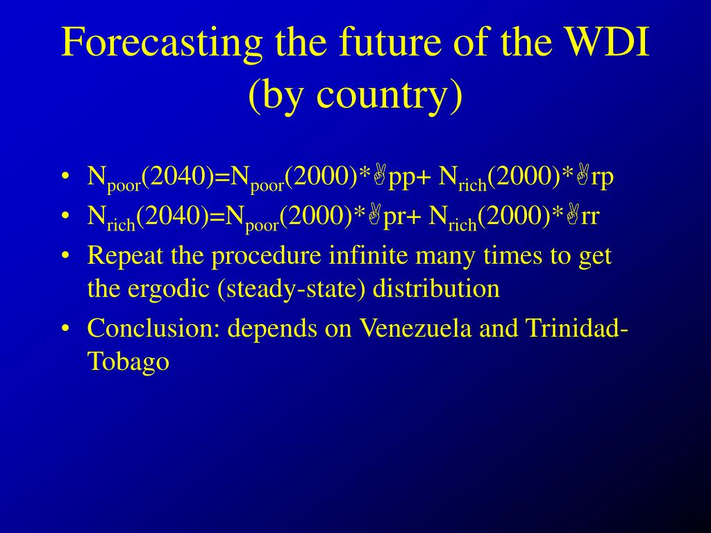 Forecasting the future of the WDI (by country)