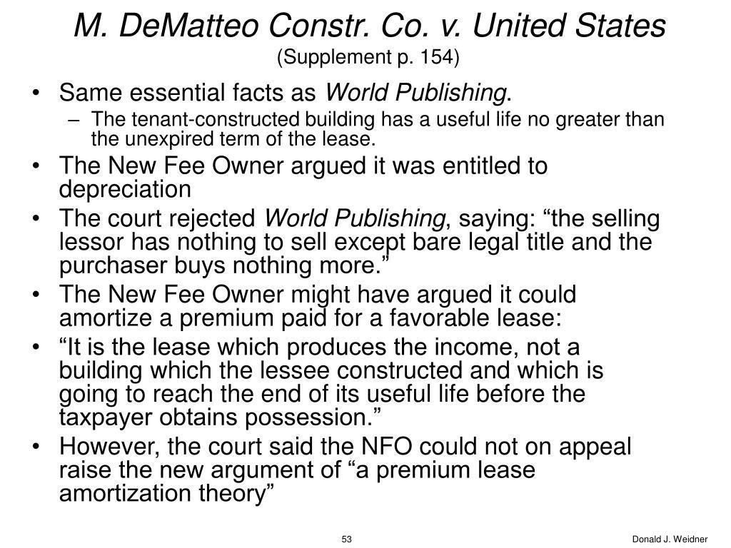 M. DeMatteo Constr. Co. v. United States