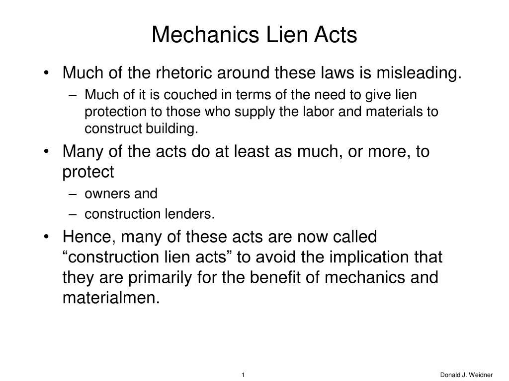 Mechanics Lien Acts