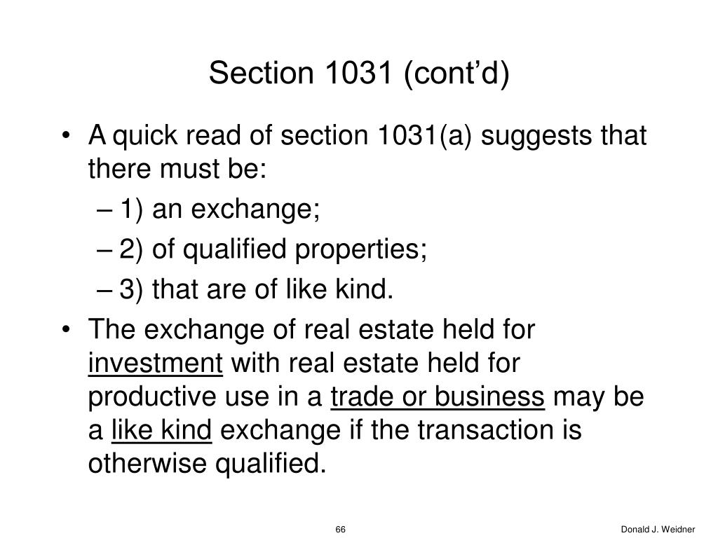 Section 1031 (cont'd)