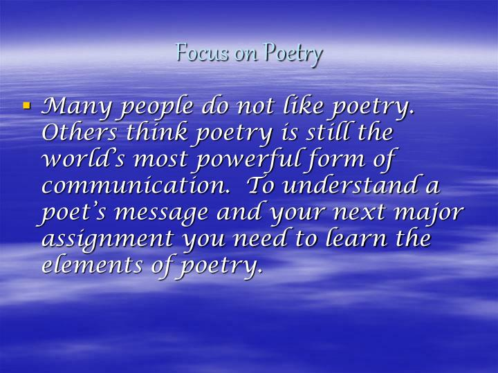Focus on Poetry