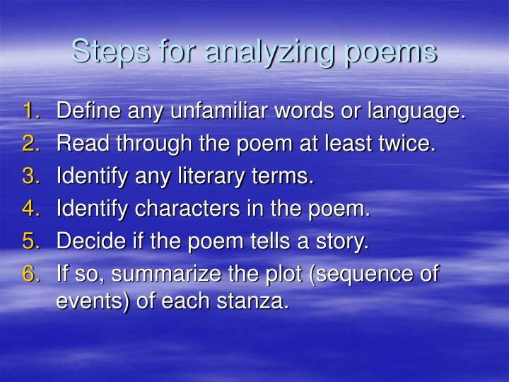 Steps for analyzing poems