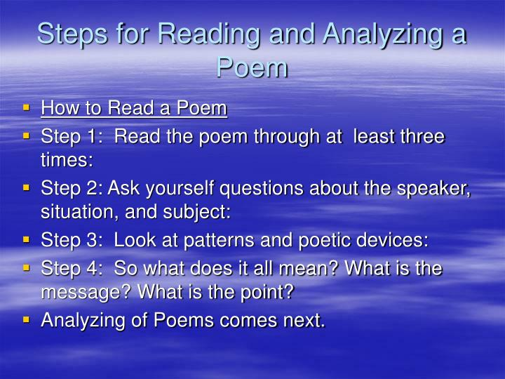 Steps for Reading and Analyzing a Poem