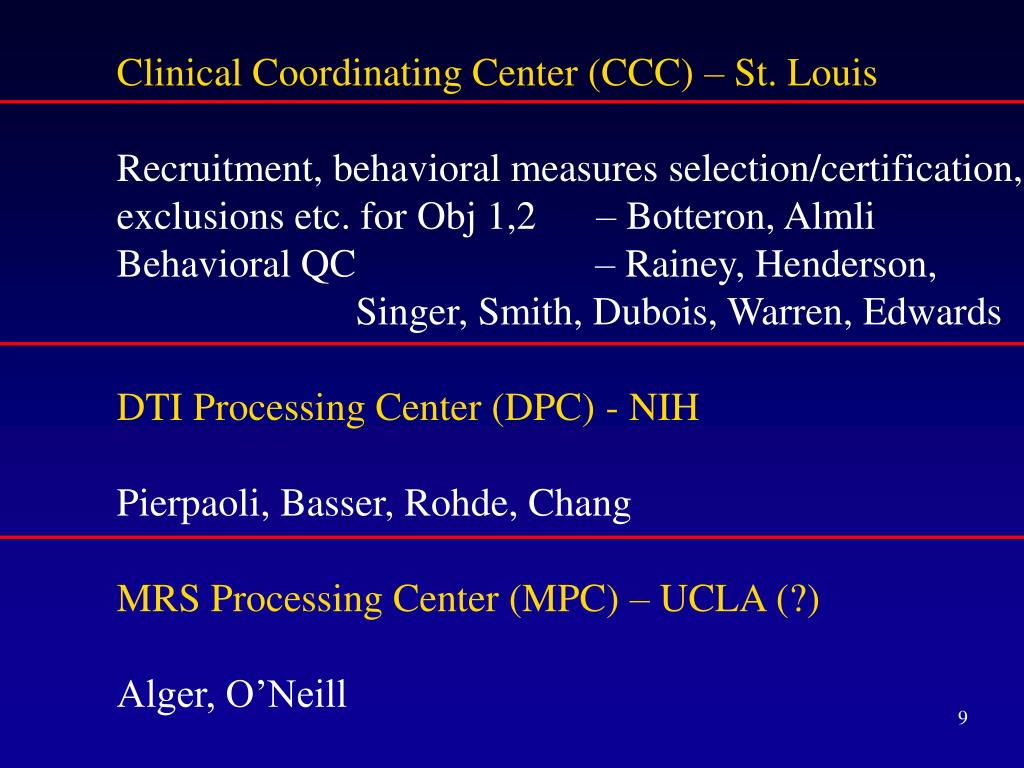 Clinical Coordinating Center (CCC) – St. Louis