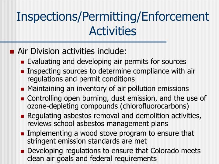 Inspections/Permitting/Enforcement Activities